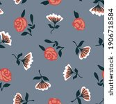 romantic liberty print on grey... | Shutterstock .eps vector #1906718584