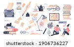 books set as elements with... | Shutterstock .eps vector #1906736227