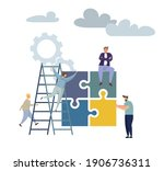 concept puzzle of financial... | Shutterstock .eps vector #1906736311
