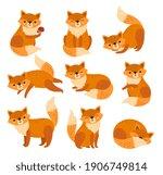 cute cartoon fox. forest foxes  ... | Shutterstock .eps vector #1906749814
