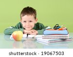 7 years old boy doing his... | Shutterstock . vector #19067503