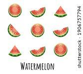summer set of fresh ripe...   Shutterstock .eps vector #1906757794