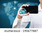 businessman holding a mobile... | Shutterstock . vector #190677887