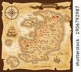 map treasures paper parchment ... | Shutterstock .eps vector #1906792987