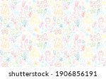 funny happy easter seamless... | Shutterstock .eps vector #1906856191