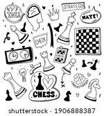 doodle set chess. cartoon... | Shutterstock .eps vector #1906888387