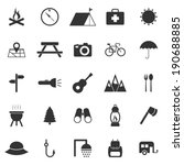 Camping icons on white background, stock vector