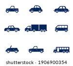 flat cars set. taxi and minivan ... | Shutterstock .eps vector #1906900354