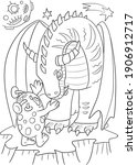 Alien And Dragon Coloring Book. ...