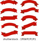 red ribbon big set isolated ...   Shutterstock .eps vector #1906919191