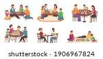 people using board games. happy ... | Shutterstock .eps vector #1906967824