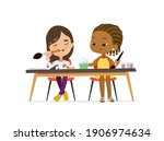 two girls draw pictures with... | Shutterstock . vector #1906974634