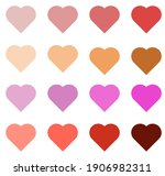 Set Of Red  Pink  Purple Hearts....