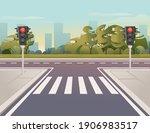 empty city road with pedestrian ... | Shutterstock .eps vector #1906983517