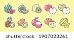 fruit icon 10 set. vector... | Shutterstock .eps vector #1907023261