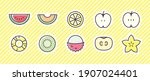 fruit icon 10 set. vector... | Shutterstock .eps vector #1907024401