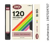 retro style vhs video cassettes ...   Shutterstock .eps vector #1907039707