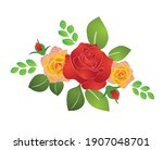 bouquet of summer roses   vector | Shutterstock .eps vector #1907048701