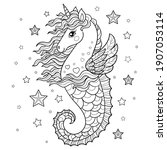 nicorn seahorse. cute fantastic ... | Shutterstock .eps vector #1907053114