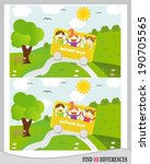 Find 10 differences - kids going in school bus in nature (vector)