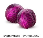 Two Red Cabbage Isolated On...