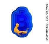man buying bitcoin stock ... | Shutterstock .eps vector #1907067901