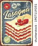 traditional italian lasagna... | Shutterstock .eps vector #1907119351