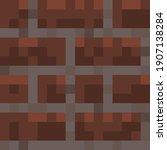 pixel minecraft style bricks... | Shutterstock .eps vector #1907138284