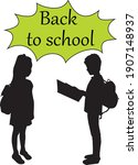 back to school. silhouette of a ... | Shutterstock .eps vector #1907148937