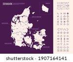 detailed map of denmark with... | Shutterstock .eps vector #1907164141