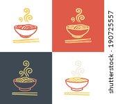 plate full of tasty hot noodles ... | Shutterstock .eps vector #190725557