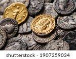 A treasure of Roman gold and silver coins.Trajan Decius. AD 249-251. AV Aureus.Ancient coin of the Roman Empire.Authentic  silver denarius, antoninianus,aureus of ancient Rome.Antikvariat.