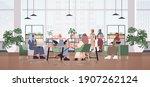arabic businesspeople in masks... | Shutterstock .eps vector #1907262124