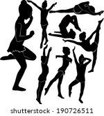 set of silhouettes girl gymnast ... | Shutterstock .eps vector #190726511
