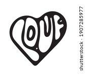 hand drawn valentine day heart... | Shutterstock .eps vector #1907285977
