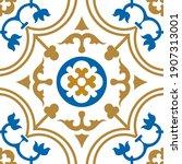 sino portuguese tile flower...   Shutterstock .eps vector #1907313001