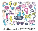 girl power concept in doodle... | Shutterstock . vector #1907322367