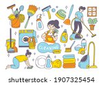 cleaning supplies doodle...   Shutterstock .eps vector #1907325454