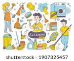 cleaning supplies doodle...   Shutterstock .eps vector #1907325457