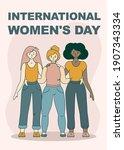 happy international women's day ... | Shutterstock .eps vector #1907343334