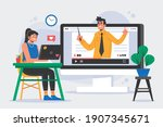 communication  meeting  online...   Shutterstock .eps vector #1907345671