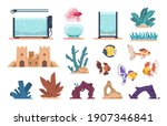 aquarium elements. cartoon full ... | Shutterstock .eps vector #1907346841