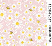 seamless pattern with daisy... | Shutterstock .eps vector #1907348731