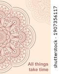 flower mandala on pink... | Shutterstock .eps vector #1907356117