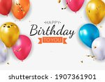 realistic 3d balloon background ... | Shutterstock .eps vector #1907361901