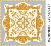 bandana print on a beige and... | Shutterstock .eps vector #1907371597