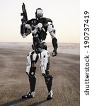 Robot Futuristic Police armored mech weapon with background - stock photo