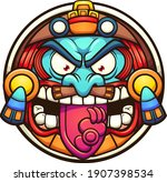 aztec sun with angry face...   Shutterstock .eps vector #1907398534