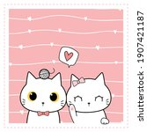 cute adorable little white cat...   Shutterstock .eps vector #1907421187