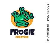 green frog cartoon logo. cute...   Shutterstock .eps vector #1907437771